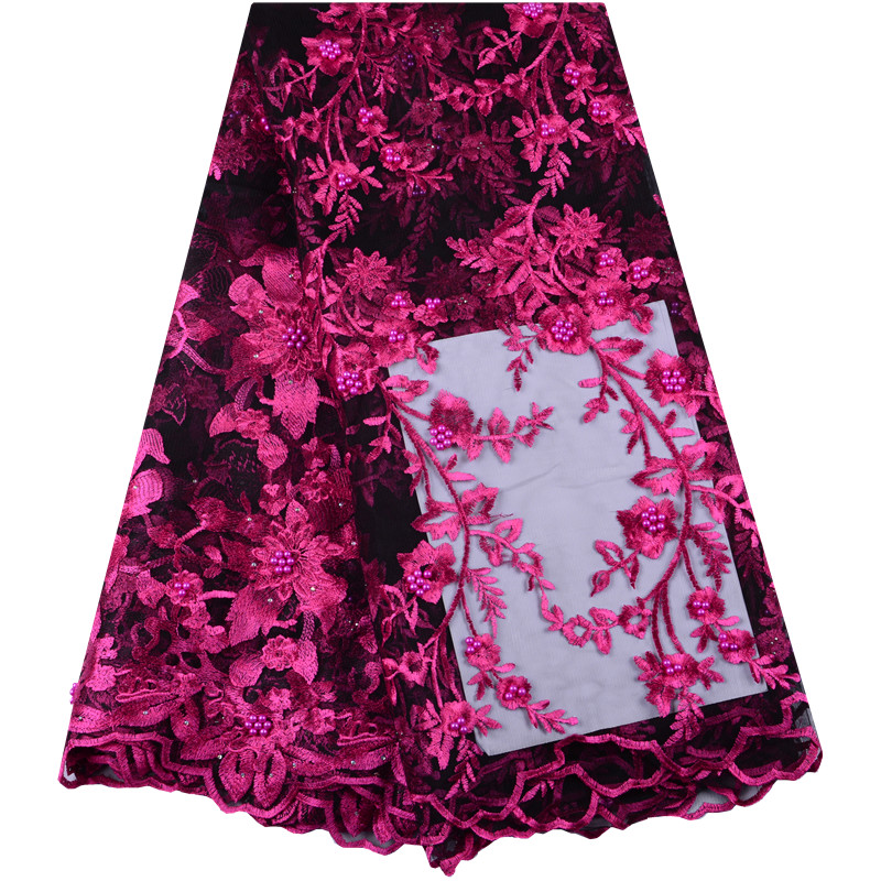 Fuchsia New Style French Embroidery Lace Fabric African Tulle Mesh Lace Fabric High Quality African Lace