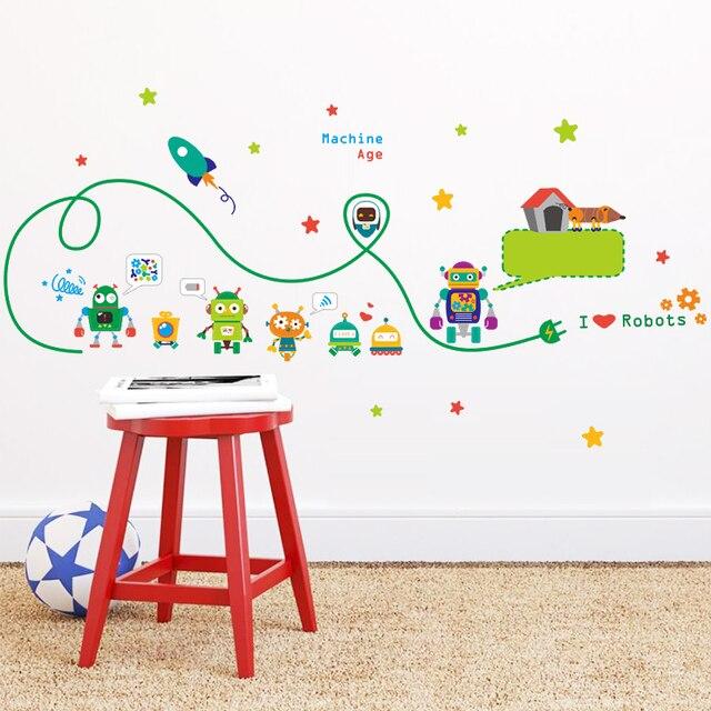 Cute Robots Machine Age Wall Art Stickers Kids Room Nursery Indoor Decor Adesivos De Parede Diy