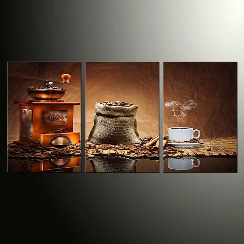 Home Decor Canvas Malarstwo Abstrakcyjne Martwa natura Malarstwo Ziaren Kawy Dekoracyjne Malarstwo Nowoczesne Obrazy Ścienne 3 sztuk Wall Art