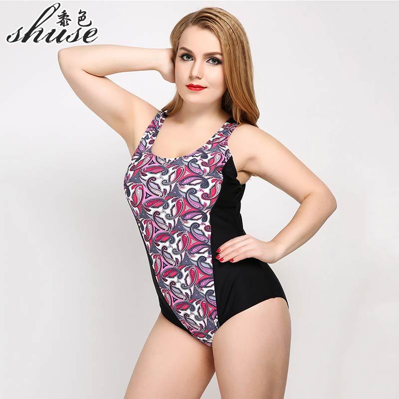 Купальник SHUSE большого размера, одноцветный принт, слитный купальник, женское сексуальное боди с открытой спиной, большое монокини, пляжный купальный костюм, популярный товар 2017 - 3