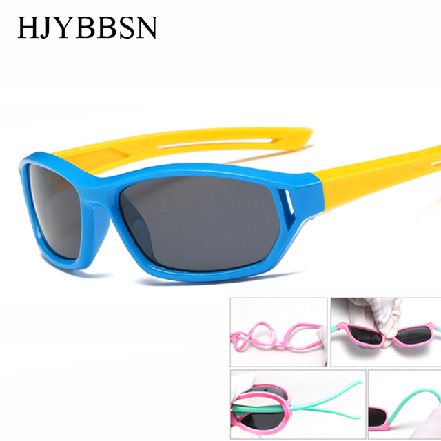 84601405d Armação de borracha Esporte Óculos Polarizados Crianças Flexível Infantil  da Segurança Do Bebê Criança Óculos de