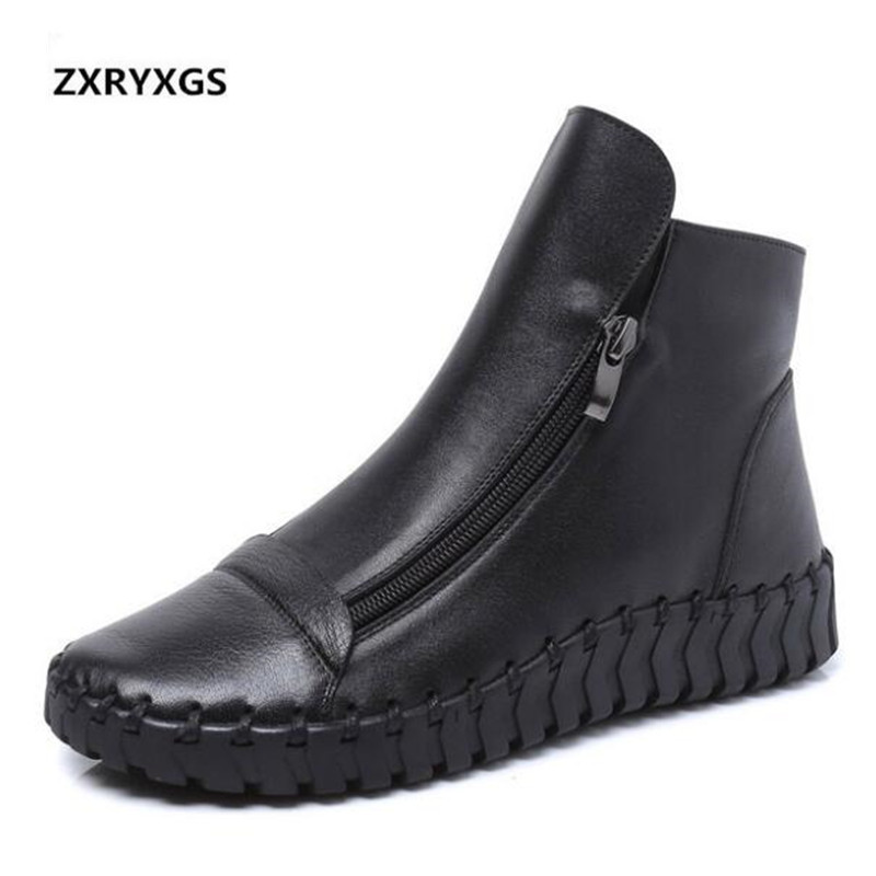 2019 New Spring Fashion Zipper Black Genuine Leather Boots Comfort Breathable Women Flat Shoes Non slip