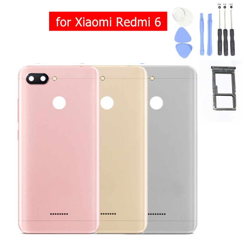 Tray-Holder Rear-Housing Redmi6-Card Repair-Spare-Parts Back-Cover Door Xiaomi 6-Battery