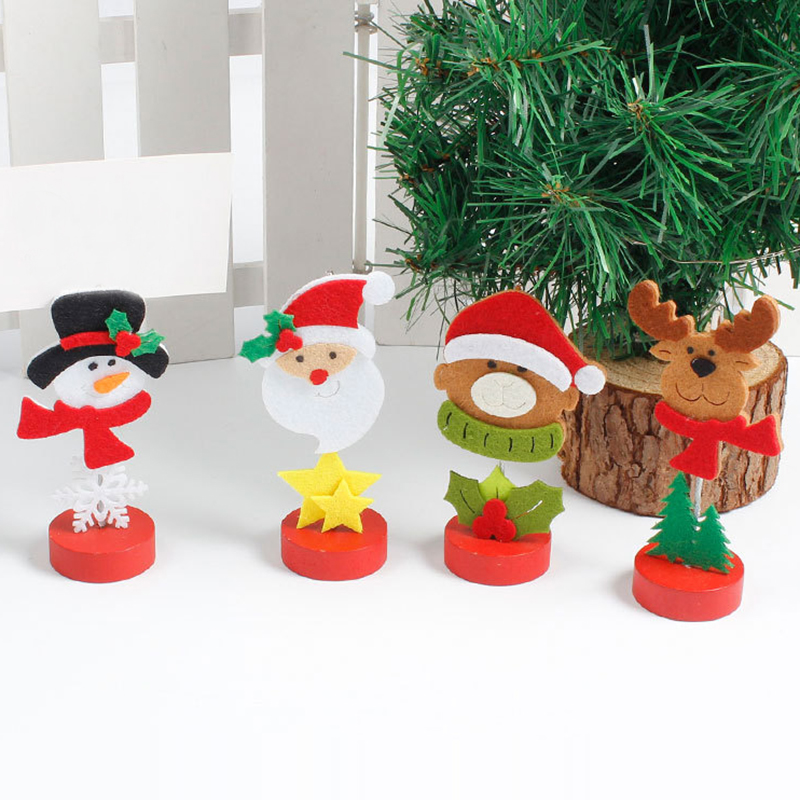 Christmas Table Ornaments Santa Claus Photo Cards Holder Ornament Xmas Mini Furnishing Articles Home Office Decor With Clip