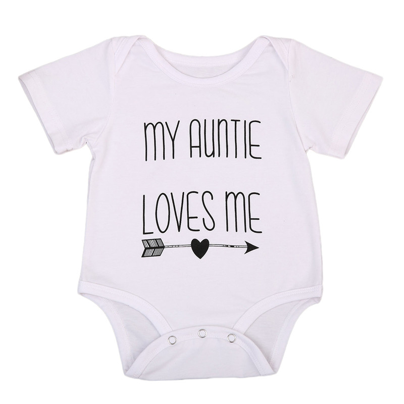 Short Sleeve O-Neck Pullover Fashion Hot My Auntie Love Me Baby Boy Girls Romper Jumpsuit Cotton Clothes Outfits 3-18M(China)