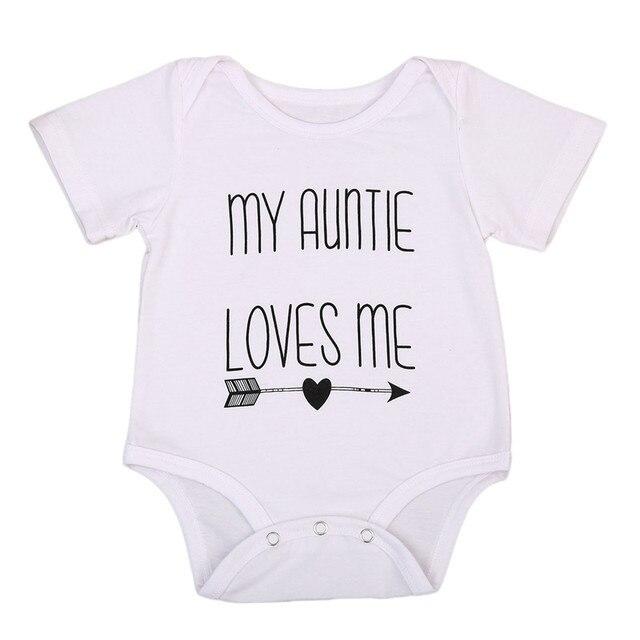 Kurzarm Oansatz Pullover Mode Hot Mein Auntie Liebe Mich Baby Junge Mädchen Spielanzugoverall Baumwolle Kleidung Outfits 3-18 Mt