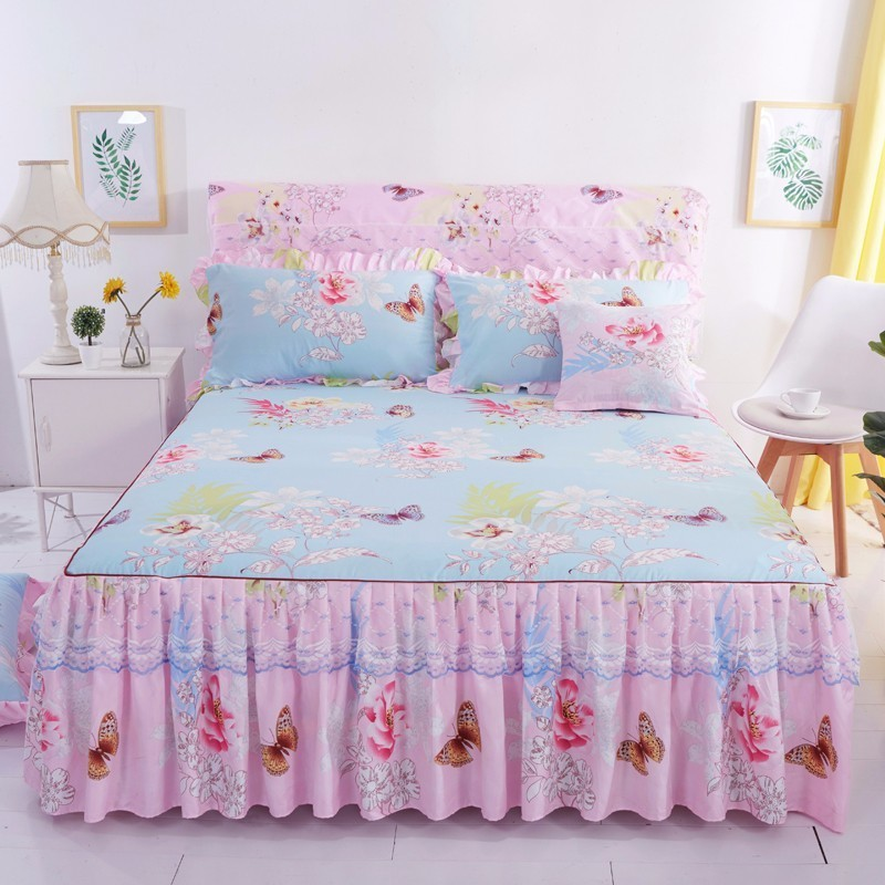1 Piece Lace Bed Skirt +2pieces Pillowcases Fashion Bedding Set Princess Bedspreads Sheet Bed For Girl Bed Cover King/Queen Size Bed Skirt     - title=
