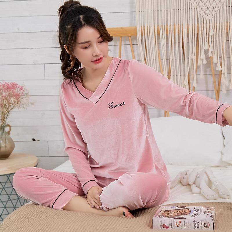 206d2ebe9199c57 Yuzhenli новый зимний теплый пижамный комплект Женский Пижамный Костюм  Бархатный v-образный вырез Милая Розовая домашняя одежда Пижама женская.