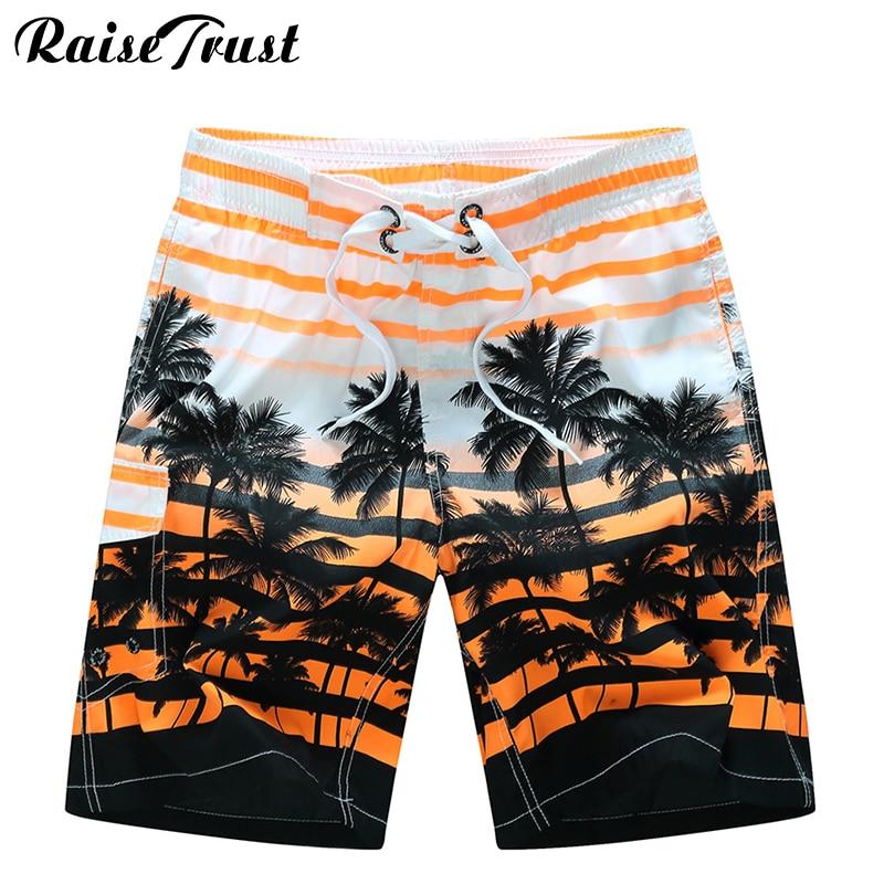 Raise Trust Fashion Summer Men's   Shorts   3d Print Striped Coconut tree Praia Couple Swimwear Plus Size 6XL Gay   Board     Shorts   Beach