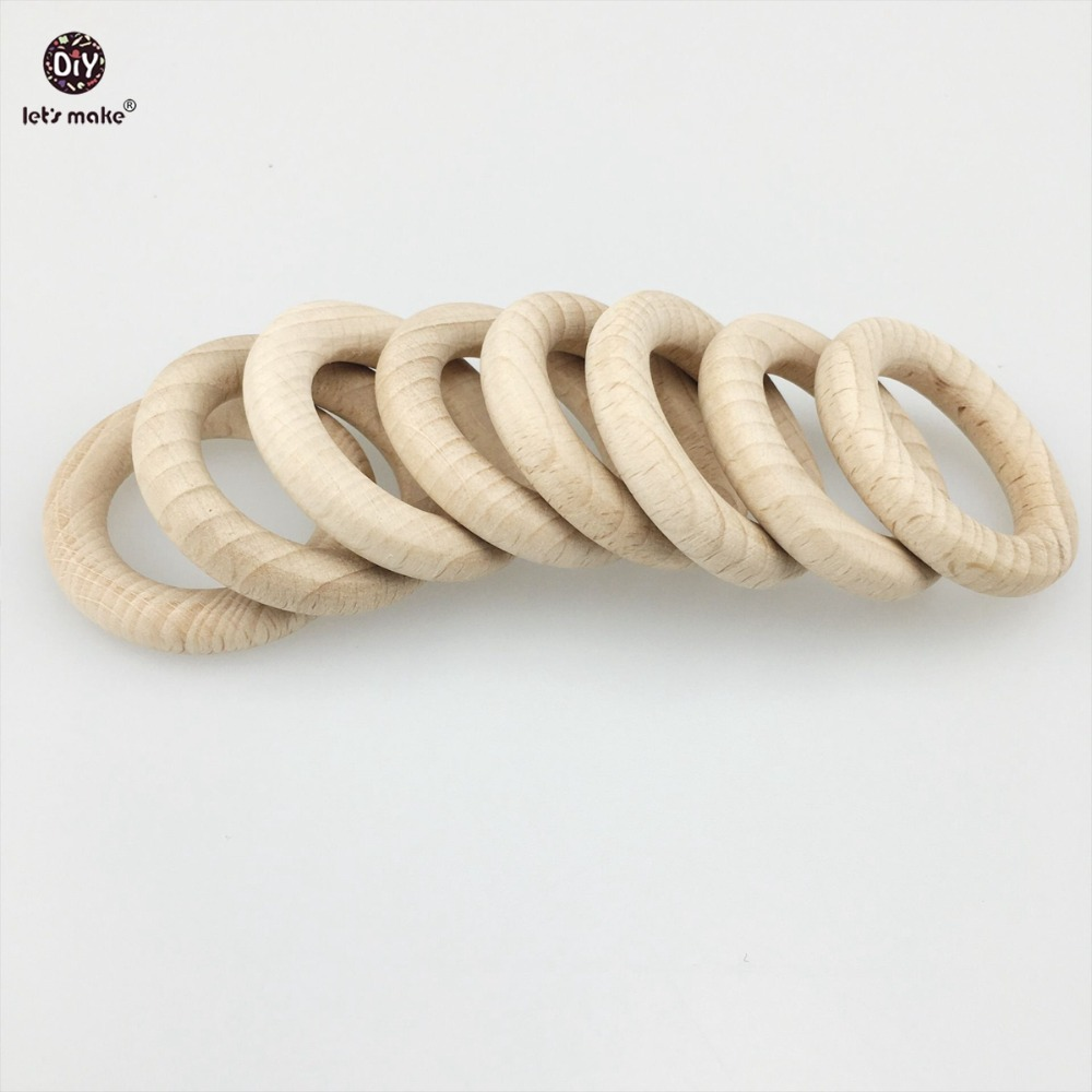 Let's Make Beech Wooden 20pc Round Wood Ring 40mm DIY Jewelry Teething Accessory Montessori Baby Toys Nursing Bangles