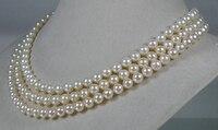 Бесплатная доставка> Подлинная AAA + 6,5 7 мм круглый белый кремовый акойя морской жемчуг ожерелье 6,07