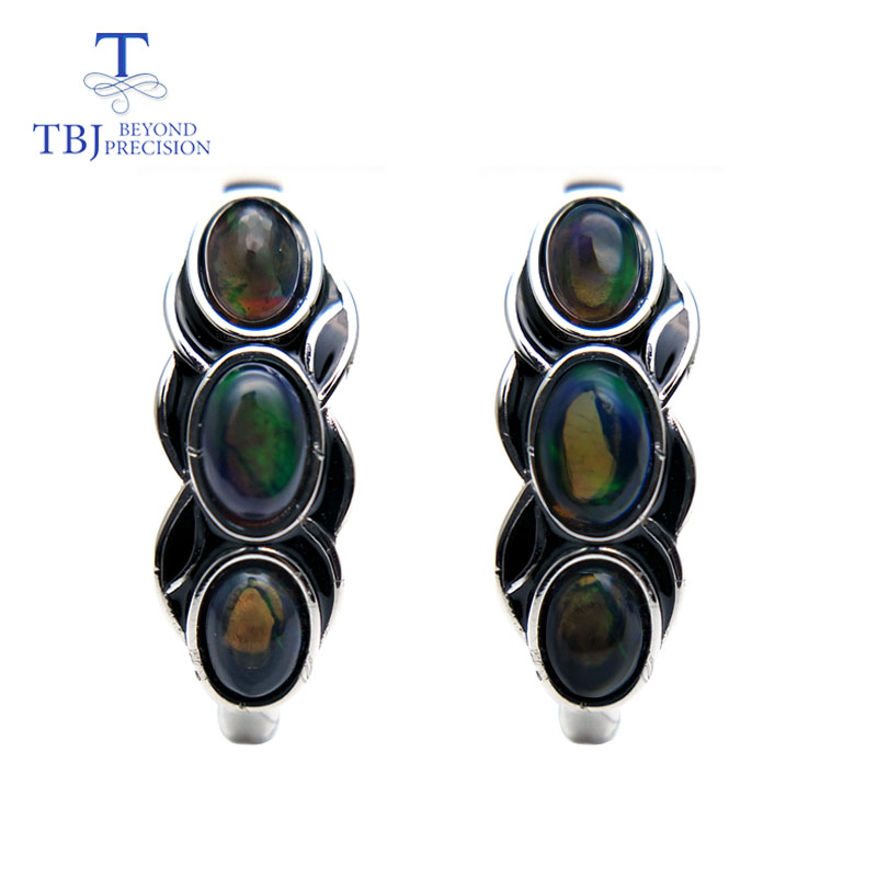 TBJ, สไตล์วินเทจดี clasp ต่างหูสีดำธรรมชาติพลอยโอปอลเงินแท้ 925 ออกแบบสำหรับสตรีสวมใส่ทุกวัน-ใน ต่างหู จาก อัญมณีและเครื่องประดับ บน   1