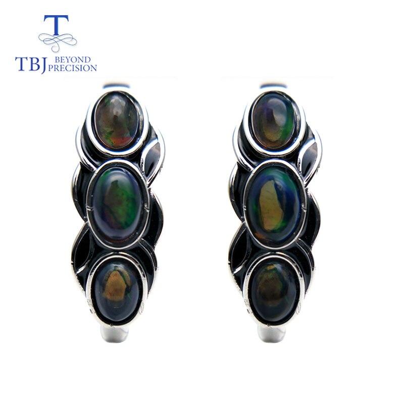 TBJ, di stile dell'annata di buona chiusura orecchino con il nero naturale opal pietra preziosa in argento sterling 925 di disegno per le donne di tutti i giorni di usura regalo-in Orecchini da Gioielli e accessori su  Gruppo 1