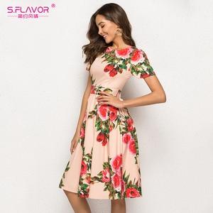 Image 4 - S. טעם נשים הדפסת קיץ שמלה אלגנטית קצר שרוול אביב Midi שמלת עבור נקבה נשים מקרית Vestidos דה