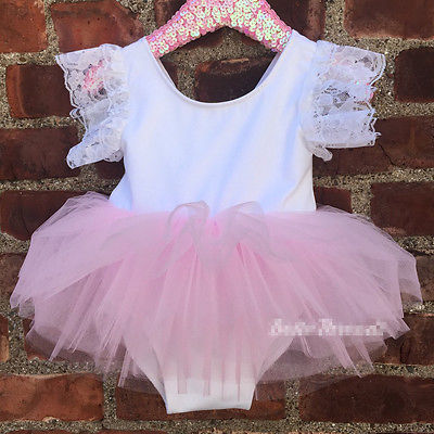Lace Flower Sleeve Dress Kids Baby Girls Pink Rompers Lace Tutu Dress Clothes Outfits