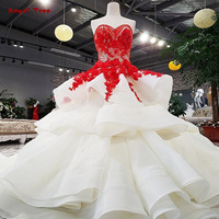 Lace Up Red Flowers Strapless Evening Dress Lace And Beading Sweep Train Shopping Online Vestidos De