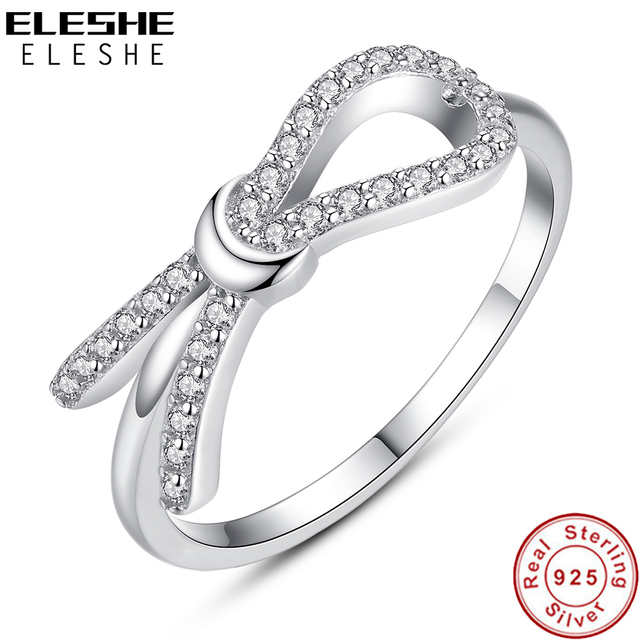 cd0d1a962 ELESHE Luxury Cubic Zirconia Crystal Bow Knot Infinity Finger Ring Real  Pure 925 Sterling Silver Rings For Women Wedding Jewelry