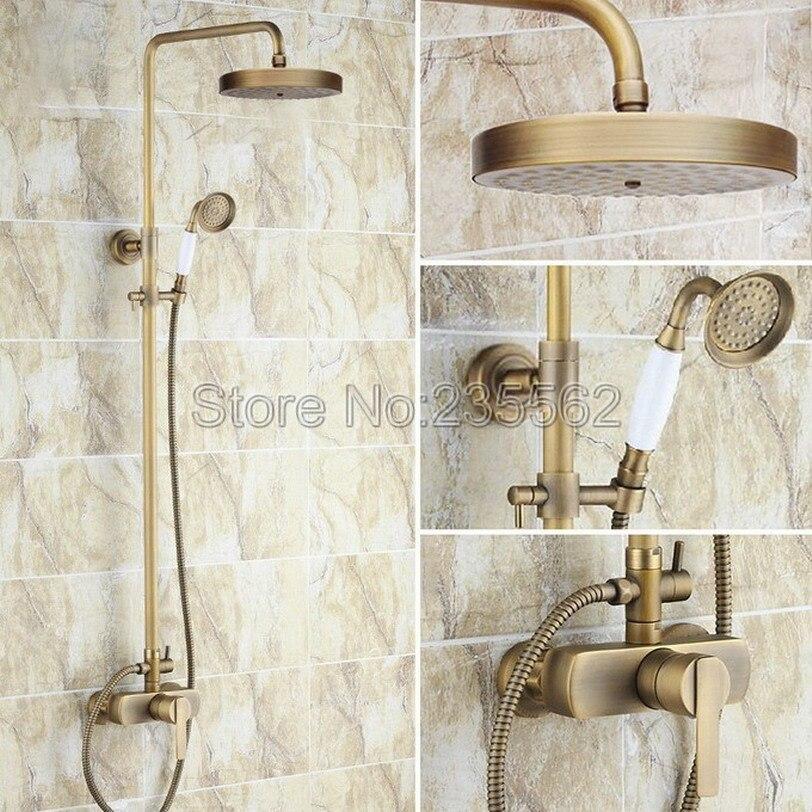 Classic Single Handle Antique Brass Bathroom Rain Shower Faucet Set with Ceramic Handheld Shower Spray lrs178Classic Single Handle Antique Brass Bathroom Rain Shower Faucet Set with Ceramic Handheld Shower Spray lrs178