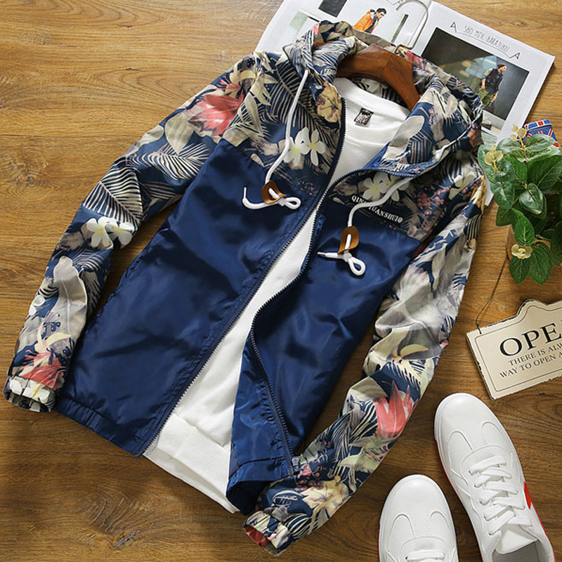 New Spring Autumn Fashion casual Floral Camouflage Hooded font b Jacket b font male Windbreaker zipper