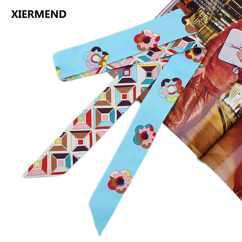 120cm*5 Scarf Camellia Simulation Silk Narrow Long Scarf Sunscreen Variety Magic Tie Bag Handle Ribbon Female Skinny Scarves