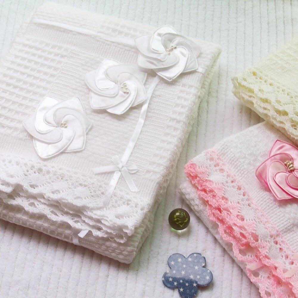 125x100 Cm Zachte Europese Bloemen Breien Deken Gooi Deken Zomer Sofa Baby Kabel Gebreide Deken Sjaal Inbakeren