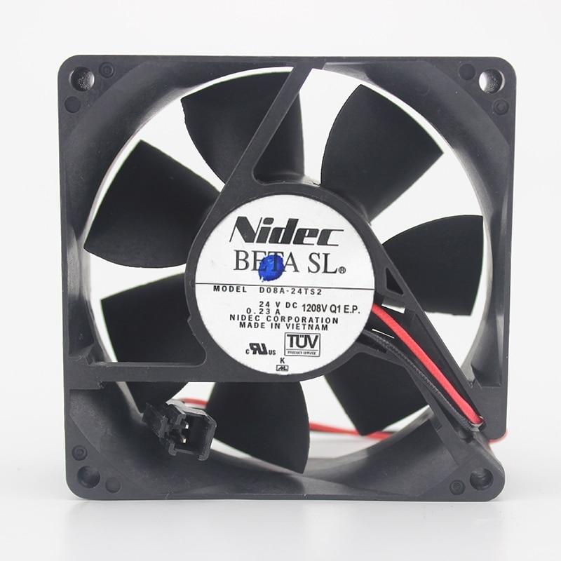 80mm fan Nidec Original D08A-24TS2 8025 24V 0.23A 8CM two line drive cooling fan 80*80*25mm80mm fan Nidec Original D08A-24TS2 8025 24V 0.23A 8CM two line drive cooling fan 80*80*25mm