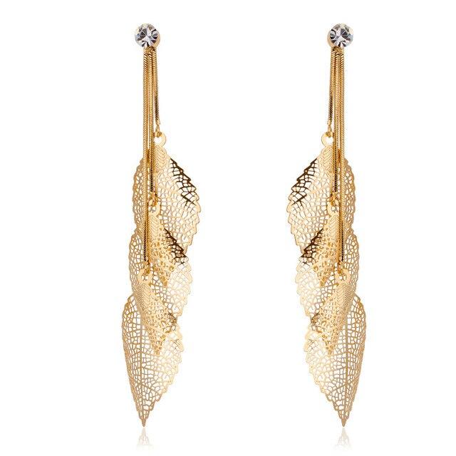 Gold Color Snake Chain Filigree Tripe Leaves Crystal Leaf
