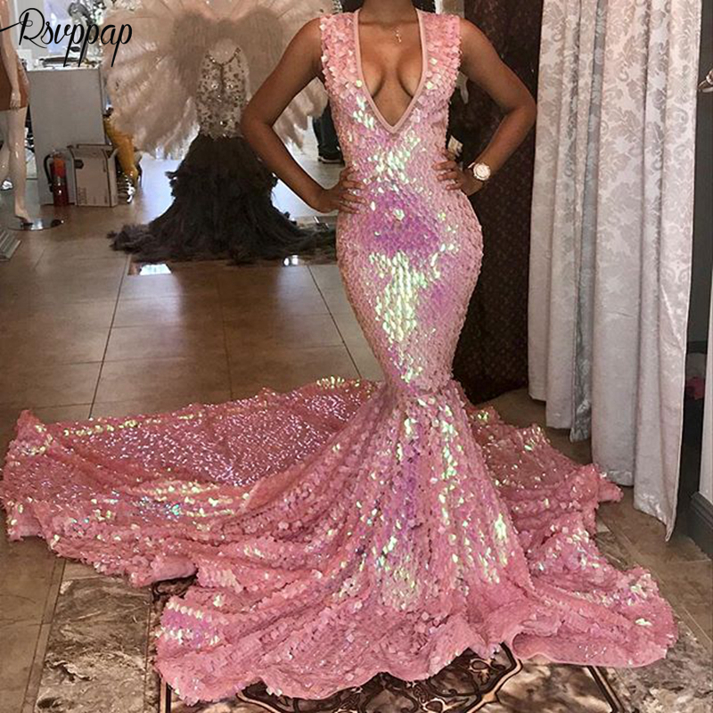 Long Prom Dresses 2019 Sparkly V-neck Sexy Mermaid Party Bling Bling African Black Girl Pink Prom Dress Long Train
