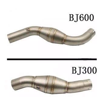 TKOSM 51mm Motorcycle For Benelli BJ300 BJ600 Exhaust Link Pipe Plumbing Trap Muffler Pipe Escape Moto Middle Pipe