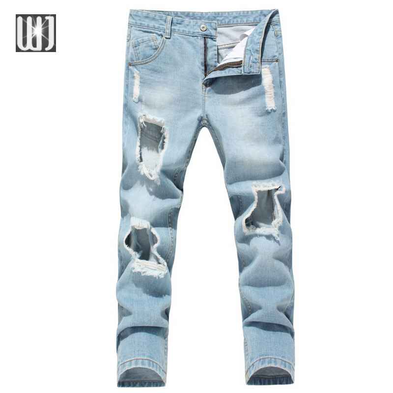 Jeans Men Ripped Korean Hip Hop Fashion Harem Pants Cool Mens Homme 2016 Denim Biker Robin Hole Jean Plus Size 28-36