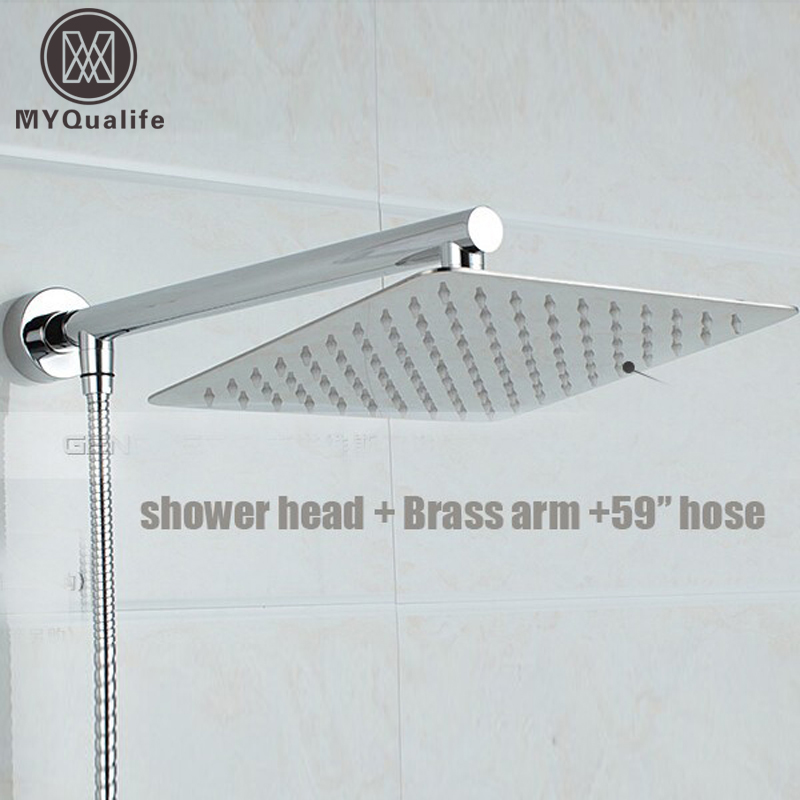 ФОТО Free Shipping Chrome Finished Wall Mounted Brass Shower Arm + Ultrathin Square 8