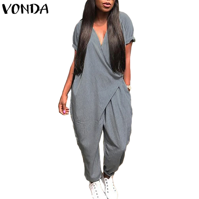 e28dc96e25af VONDA Rompers Womens Jumpsuit 2018 Summer Pregnancy Overalls Sexy V Neck  Playsuit Casual Halen Pants Trousers Maternity Clothes