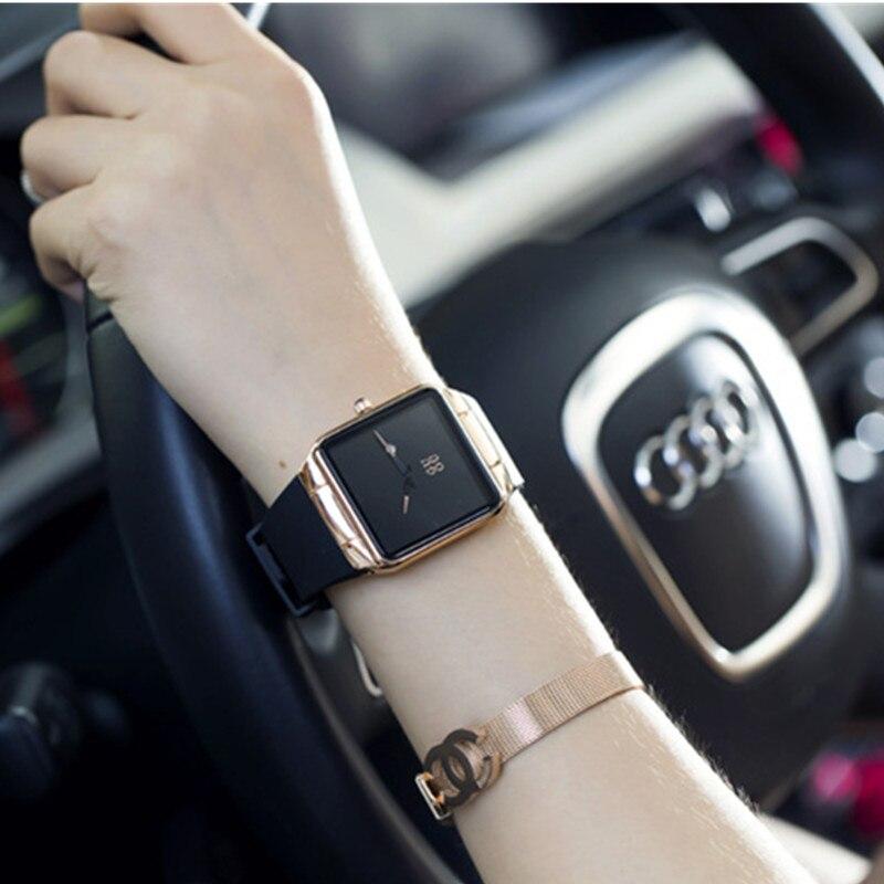 GUOU Minimalismo Moda Reloj Casual Relojes de Mujer Cuadrado Simple Dial Mujer Auto Fecha Silicona Señoras Reloj saat regalos