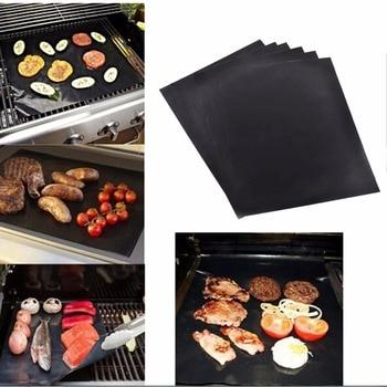 5pcs Waterproof Teflon non-stick BBQ Grill Mats Sheet Black Cover Garden Patio Reusable Barbecue Party Cooking Outdoor Tool mata bor amplas