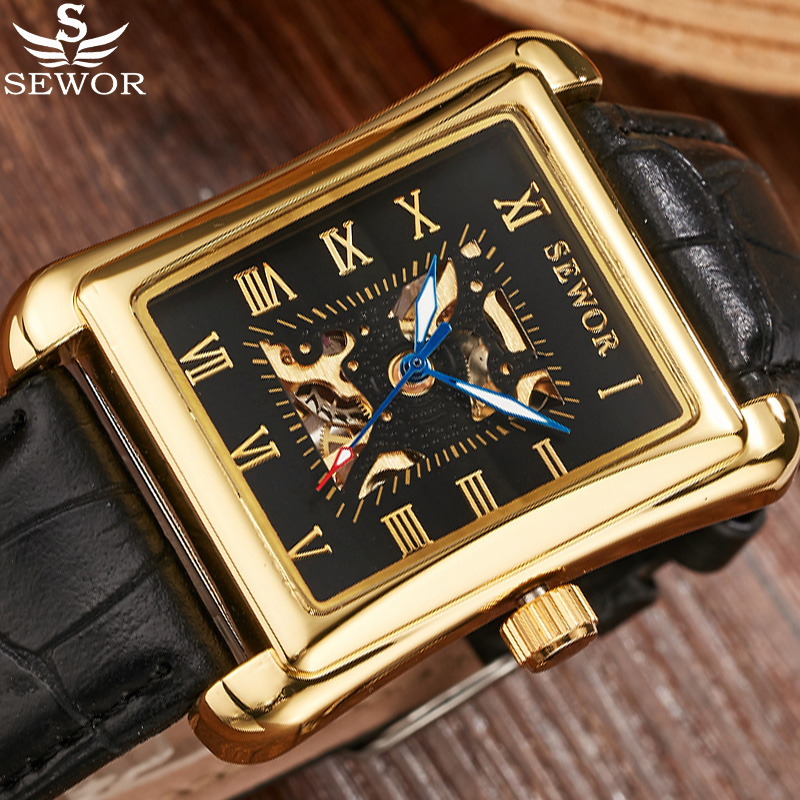SEWOR Luxury Brand Designer Rectangle Gold Skeleton Mechanical Watches Leather Wristwatch Men Casual Clock Business Watch biaoka automatical mechanical watches men luxury brand male clock leather wristwatch men skeleton casual business gold watch