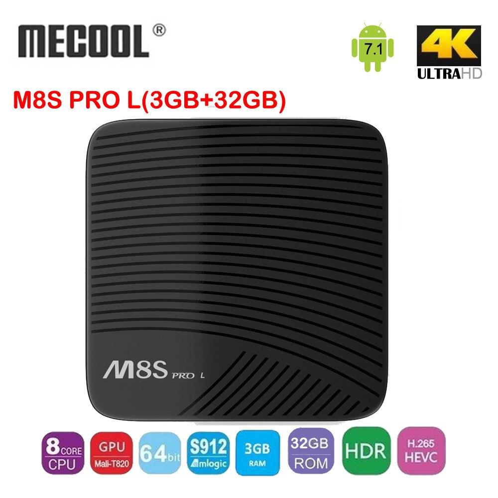 Mecool M8S Pro L 3GB/32GB Android 7.1 Amlogic S912  64 bit Quad-core  TV BOX 2.4G&5G WIFI 4.1+HS Bluetooth LAN Ethernet