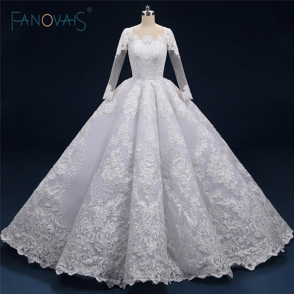 New Vintage Princess Ball Gown Wedding Dresses Beaded: Luxury Wedding Dress 2019 Long Sleeve Princess Ball Gown