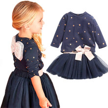 Retail Girls 2 Pcs Set Blue Layered Tutu Dress Sets Clothing Sets cartoon clothing girls Baby girls clothing sets girls clothes