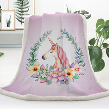 Cartoon Unicorn Colorful Plush Throw Blanket Floral Print Cashmere Warm Blankets plush 3D digital printed blanket