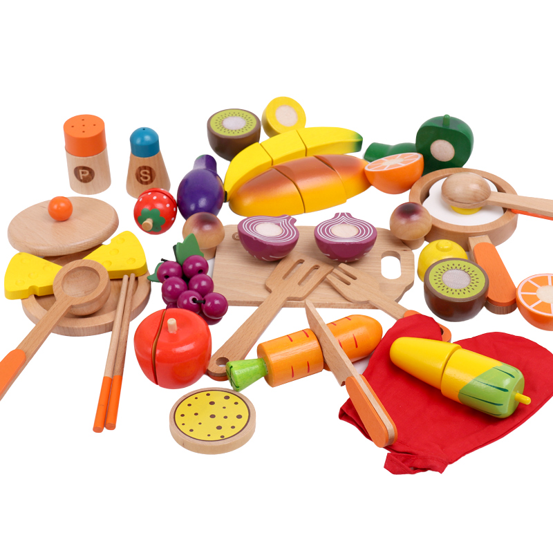 Kitchen Toys For Kids Pretend Play 9/10/32Pcs Simulation Fruit/Vegetable Cut Cooking Ware Set Wooden Toys Educational Toys Gift