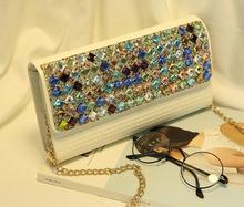 Party evening handbag European style women single shoulder bag colorful diamonds chains handbag fashion geometric evening bag