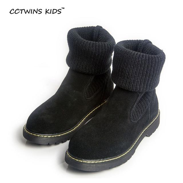 CCTWINS KIDS otoño invierno baby girls botas de cuero genuino para los chidlren moda de piel botas de niño zapatos calientes niños botas negras