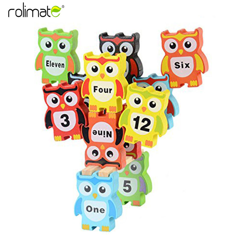 12 Pcs/Set Creative Large Wooden Colorfol Owl Digital Piles High Piles Toys for Children Educational Blocks Baby Kids Game Gifts