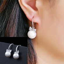2019 New FashionCubic Zirconia Bow Earrings Pendientes Silver High quality Pearl Jewelry Girls & Women Sliver Earrings wholesale