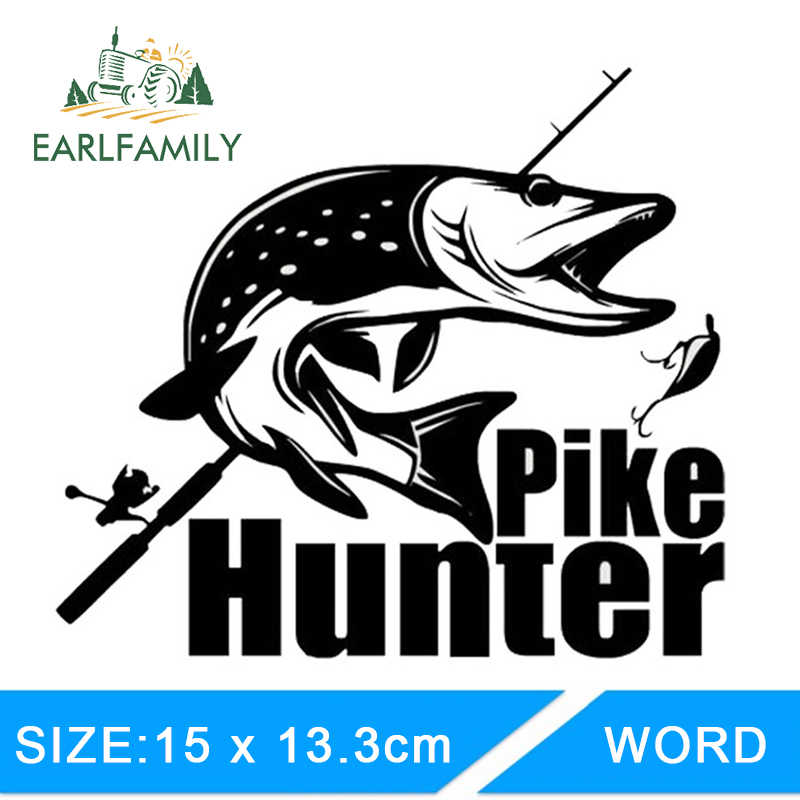 EARLFAMILY 15 cm X 13.3 cm Auto Styling Fashion Hunter Pike Fishing Bite Auto Stickers Vinyl Decal Waterdicht DIY Accessoires