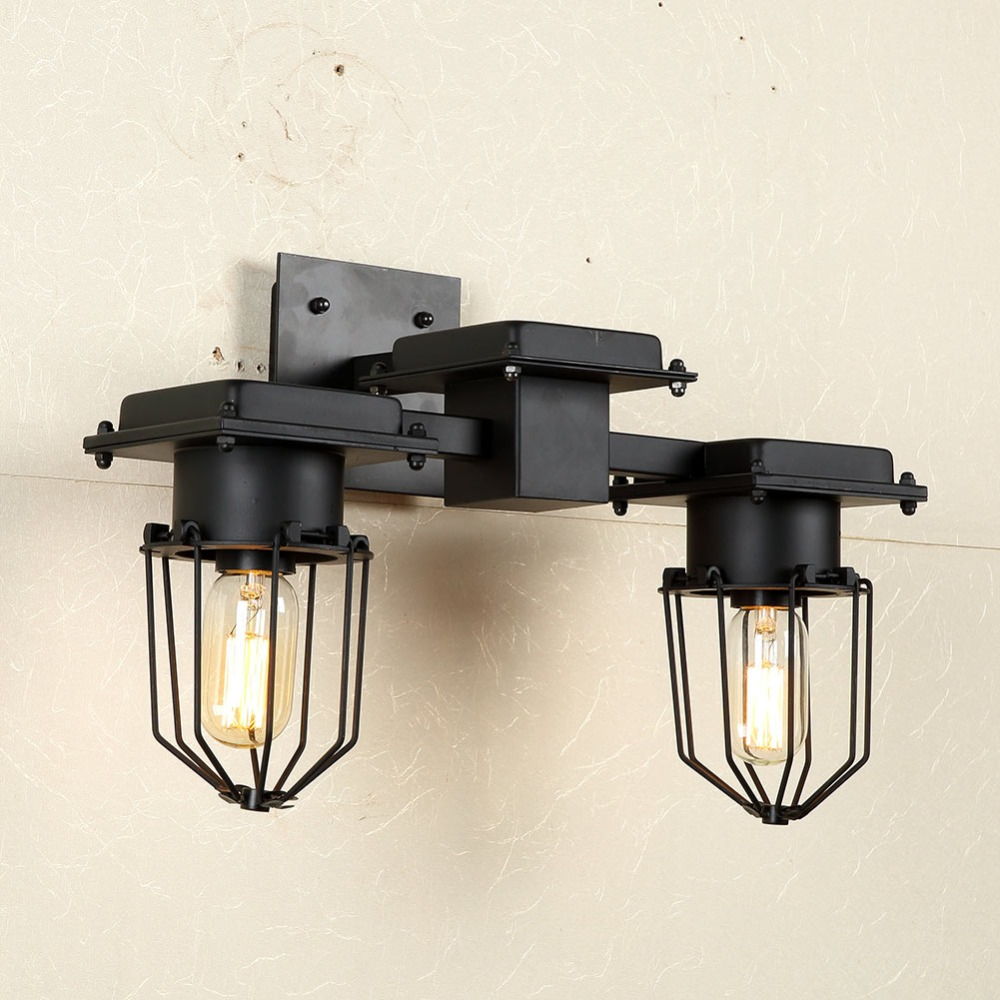 Loft American Vintage Wall Lamps <font><b>Industrial</b></font> Indoor Lighting Bedside Lamp Wall Lights for <font><b>Home</b></font> <font><b>Decoration</b></font> E27 Single/Double Heads