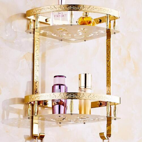 Dofaso bathroom storage corner shelf gold rack Wall Mounted Gold Copper bathroom corner shower shelf Dual Tier Soap Holder high top quality c shape brass metal