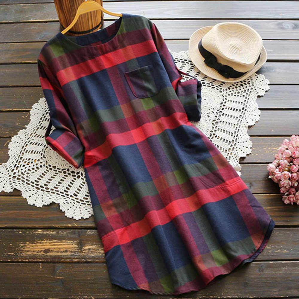 Feitong kadın kadın gömleği elbise Boho bayanlar rahat ekose uzun kollu gevşek cep salıncak Vintage elbise vestidos verano 2018 yeni