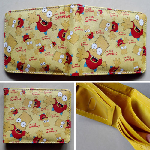 Anime The Simpsons Bart Simpson Logo wallets Purse Multi-Color 12cm Leather W111 NEW 2018 games pacman games logo wallets purse multi color leather new hot w199