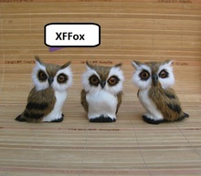 3 pieces a lot small cute real life owl models plastic&furs dolls home decoration gift about 8x6x10cm xf0491